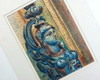 """Original watercolor Winged Sphinx, matted 20"""" x 16"""""""