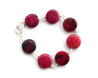 Red Dark Pink Gemstone Wire Wrapped Bracelet