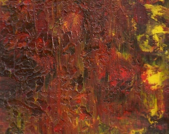 Original Acrylic Abstract Fire Storm Painting Fine Art in White Mat