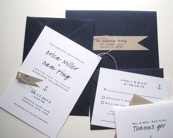salty wedding invitations & rsvp cards (SAMPLE), Nautical Wedding Stationery, Modern Nautical Wedding, Anchor Wedding, Eco-Friendly Wedding