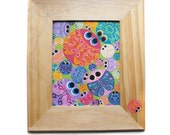 Original Painting - Cute Lil' Buggers - Funky Fun Bright Colorful Bugs on Canvas in Hand Painted Frame - Bug Art