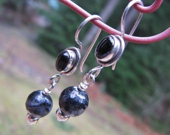 Onyx, Sterling Silver and Rutilated Quartz Earrings