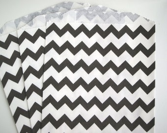 Black Chevron Favor Bags (20) - Birthday Party Grab Bags - Wedding Favor Bags