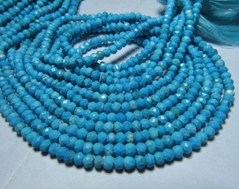 14 Inches So Gorgeous - Sleeping Beauty - Natural TOURQUISE - Micro Faceted Rondell Beads size 3.5 - 4  mm approx