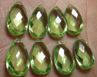 4 Matched Pair - AAAA - High Quality Gorgeous Grappes  colour Quartz Pear Briolett Super Sparkle Huge size - 10x18 mm - drilled
