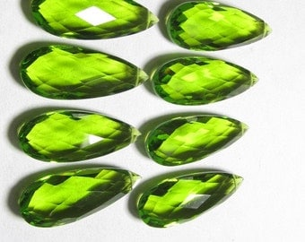 4 Matched Pair - AAAA - High Quality Gorgeous Peridot colour Quartz Pear Briolett Super Sparkle Huge size - 10x25 mm - drilled