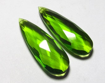 Matched Pair - AAAA - High Quality Gorgeous PERIDOT  colour QUARTZ Pear Briolett Super Sparkle Huge size - 13x40 mm - drilled