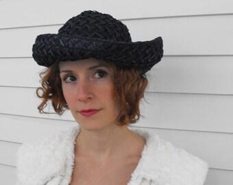 Vintage Dark Blue Hat Raffia Straw Summer Sun
