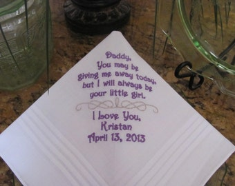 Father of the Bride - Embroidered - Wedding Handkerchief - Dad of the Bride - Wedding Gift - Simply Sweet Hankies
