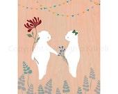Date in the Garden - art print featuring bears