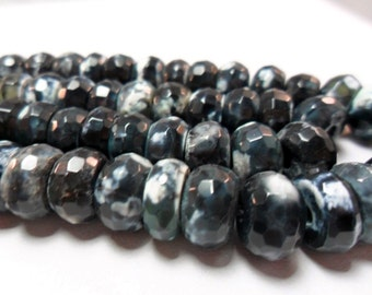 Gemstone, Faceted Forest Green Black Agate Beads,LAST ONES. Large Chunky Faceted Rondelles, 10x6mm  20 pieces