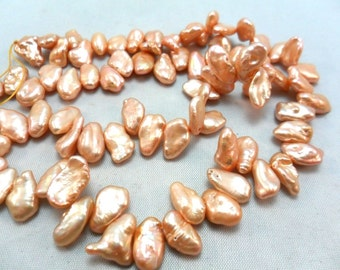 Freshwater Pearls Champagne Peach Petal Pearls, ,9x5mm average, half strand,  about 45 pcs