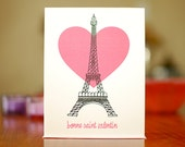 Eiffel Tower with Heart Valentine Card - Bonne Saint Valentin on 100% Recycled Paper