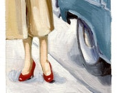 Trench Coat in Paris (an original tiny oil painting on paper)