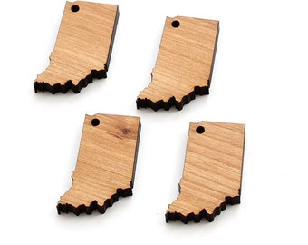 State of Indiana Mini Charms - With or Without Holes - Wood Charms by Timber Green Woods, USA!