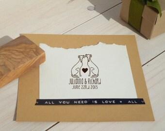 Custom Greyhound Pair Olive Wood Stamp