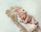 Newborn Photo Prop Layering Burlap Set Photography Prop Newborn Baby  Burlap and Crochet Blanket
