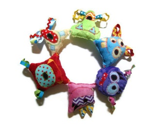 Small Plush Monster, Minky Baby Toy, Monster Birthday Party Favors, Baby Shower Gift, Car Seat Stroller Toy