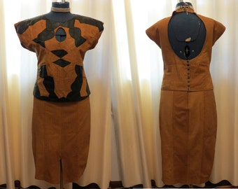 Vintage 80s  Soft Brown Suede and Black Leather Suit By Frantik Australia Top and Skirt