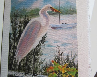 Overlooking the Bay 5 x 7 Note Card watercolor print birdlife ocean sailboat