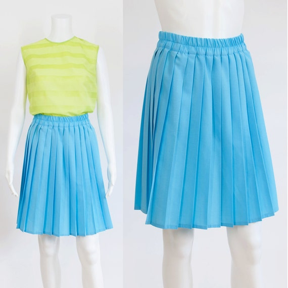 turquoise blue knife pleated skirt s m by hamarivintage
