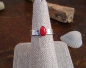 Hammered silver and red coral ring
