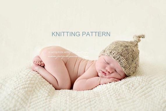 Baby Knot Hat Knitting Pattern : Printable KNITTING PATTERN Top Knot Hat newborn baby photo