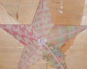 Pink Baby Girl Decoupaged Wooden Star
