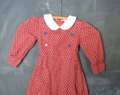 Vintage girls red long sleeve collared dress 4T