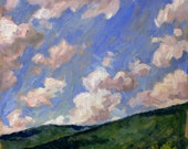 Summer Sky, The Berkshires. Oil Painting Landscape, Original Oil on Canvas, 12x12 American Impressionism, Signed Original Realist Fine Art