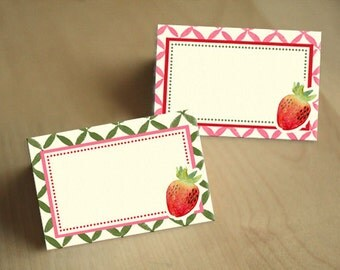 STRAWBERRIES AND CREAM Food Tent Labels- Instant Printable Download & Strawberry food tent | Etsy