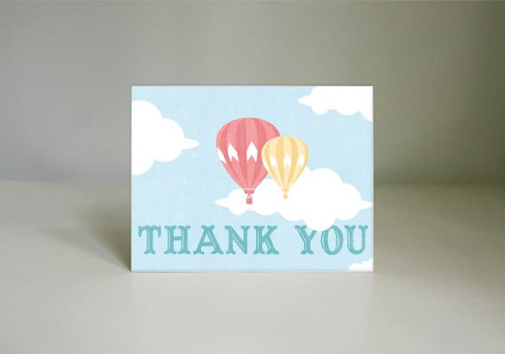 HOT AIR BALLOON Printable Thank You Card in Coral- Instant Download