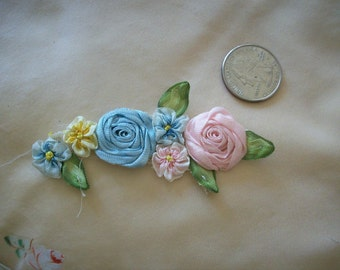 Authentic antique silk ribbonwork flowers in ombre ribbons