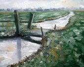 RESERVED BRIDGE Dutch Landscape painting 30 x 40 cm