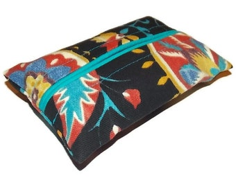 Travel Tissue Cozy, Kleenex Holder,Purse Tissue Pack, Pocket Tissue Pack, Black, Orange, Turquoise Suzani