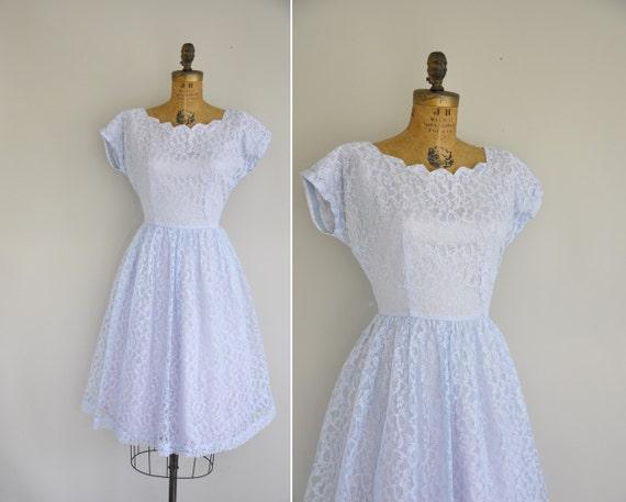 50s Dress Vintage 1950s Pastel Blue Lace Dress 50s Full