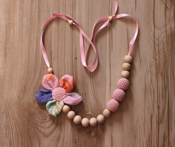 Crochet Fabric Necklace for mom Nursing necklace /Teething necklace