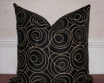 SALE ~ Decorative Pillow: 20 X 20 Upholstery Accent Throw Pillow Cover in Black Swirl with Tobacco Damask Backing