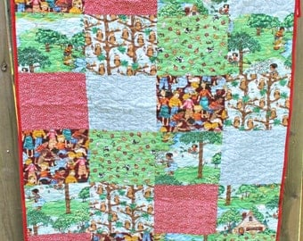 Mary Engelbreit Quilt, Oversized Baby Quilt, Modern Toddler, Patchwork Quilt, Long Arm Machine Quilted