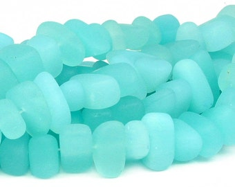"8"" SEAFOAM blue LARGE 10mm 15mm chip pebble sea beach velvet glass beads frosted recycled"
