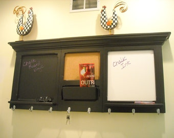 Soot Black  3 piece bulletin board, Cork, Chalk and Dry Erase with a cell phone holder