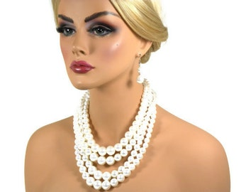 Ivory Pearl Wedding Jewelry Set, Pearl Necklace Earring Set, Multi Strand Pearl Necklace, Chunky Pearl Necklace