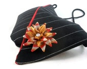 Unique black evening bag with pinstripes and polymer clay brooch