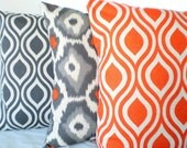 Orange Gray Pillow Covers, Decorative Throw Pillows, Cushion Covers, Grey Orange on Darker Natural, Couch Bed, Combo Set of Three 18 x 18