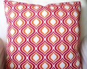 OUTDOOR Pillow Covers Decorative Throw Cushion Covers Raspberry Orange White Geometric Indoor Outdoor Patio Deck Sun Room Various Sizes