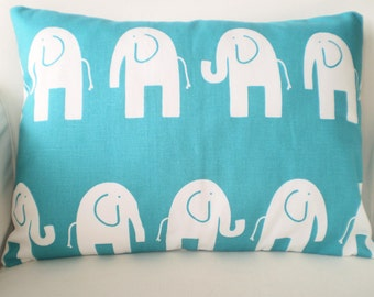 Turquoise Elephant Pillow Cover, Decorative Throw Pillow Childrens Nursery Cushions True Turquoise Elephants Lumbar, One 12 x 16 or 12 x 18