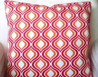 OUTDOOR Pillow Covers,  Decorative Throw Pillows, Cushions Raspberry Orange White Geometric Patio Cottage Deck Pillows One or More ALL SIZES