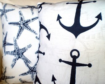 Navy White Beach Decor Pillow Covers Decorative Throw Cushion Covers Nautical Navy Blue White Starfish Anchors, Set of Two Various Sizes