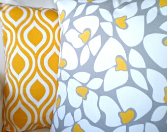 Yellow Grey Cushion Covers, Decorative Throw Pillows, Corn Yellow Gray White, Helen Nicole Couch Bed Sofa Pillows, Combo Set of  Two 18 x 18