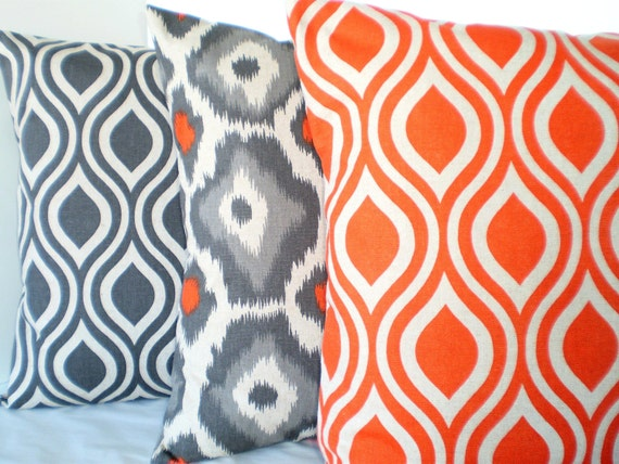 Orange Gray Pillow Covers Decorative Throw by FabricJunkie1640